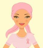 Mulher bonita da consciência do cancro da mama Foto de Stock
