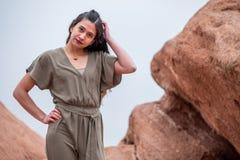 Mulher bonita da menina - mexicano latino indiano india na forma profissional fotografia de stock