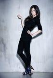 Mulher bonita da sensualidade com o cabelo longo que levanta no estúdio Imagem de Stock Royalty Free