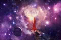 Mulher bonita de Digitas do sumário novo em um vestido vermelho que atravessa uma outra arte finala do mundo da dimensão ilustração royalty free