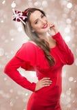 Mulher bonita de Santa na roupa vermelha Fotos de Stock Royalty Free