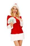 Mulher bonita de Santa que guarda um grampo do dinheiro polonês Fotografia de Stock