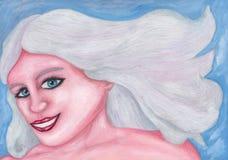 A mulher bonita de sorriso 2017 ilustração do vetor