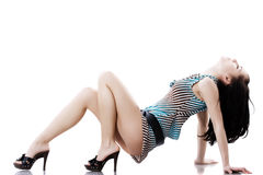 Mulher bonita de Yong no vestido curto Imagem de Stock