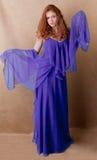 Mulher bonita dentro longa, vestido extravagante Fotografia de Stock