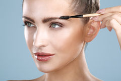 Mulher bonita do close up com a ferramenta da escova da sobrancelha Fotos de Stock