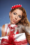 Mulher bonita do Natal Foto de Stock
