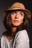 Mulher bonita do retrato no chapéu Imagem de Stock