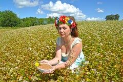 A mulher bonita dos anos médios com uma grinalda na cabeça guarda uma bacia com trigo mourisco no campo do buckwhea de florescênc Imagens de Stock