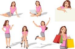 Mulher bonita dos desenhos animados Imagem de Stock