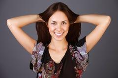 Mulher bonita e feliz Fotos de Stock Royalty Free