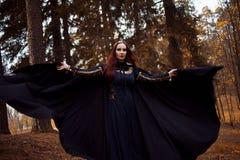 Mulher bonita e misteriosa nova nas madeiras, no casaco preto com capa, na imagem do duende da floresta ou na bruxa foto de stock