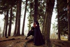 Mulher bonita e misteriosa nova nas madeiras, no casaco preto com capa, na imagem do duende da floresta ou na bruxa imagem de stock royalty free