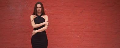 A mulher bonita elegante está vestindo o vestido preto imagens de stock royalty free