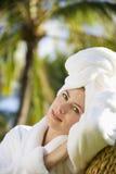 Mulher bonita em termas. foto de stock royalty free
