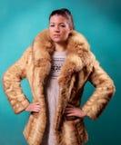 Mulher bonita em um casaco de pele fotos de stock royalty free