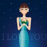 Mulher bonita em um vestido de noite ilustração royalty free