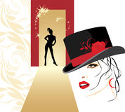 Mulher bonita em uma silhueta do chapéu e da fêmea Fotos de Stock Royalty Free