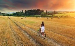 A mulher bonita empurra a bicicleta vermelha velha em um campo de trigo Imagem de Stock