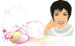 Mulher bonita entre corações Imagens de Stock