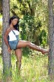 Mulher bonita entre duas árvores de pinho (2) Foto de Stock Royalty Free