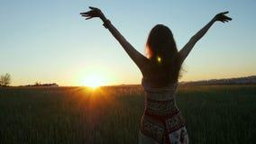A mulher bonita está no campo durante o nascer do sol e levanta suas mãos acima video estoque