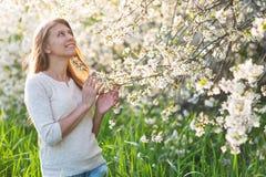 A mulher bonita está sob uma árvore de florescência na grama verde e Imagens de Stock Royalty Free