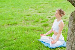 A mulher bonita est? praticando o assento da ioga na pose de Lotus na grama imagem de stock