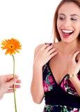 Mulher bonita excitada começ a flor do sol Foto de Stock