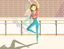 Mulher bonita feliz na classe do bailado Vetor ilustração royalty free