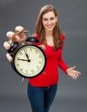 Mulher bonita feliz para o foco na gestão da paciência e de tempo imagens de stock royalty free