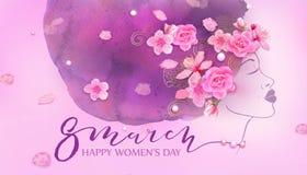 Mulher bonita Fundo cor-de-rosa da aquarela Fotos de Stock