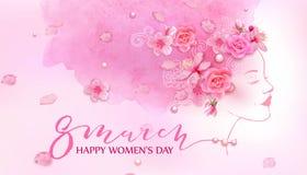 Mulher bonita Fundo cor-de-rosa da aquarela Foto de Stock Royalty Free