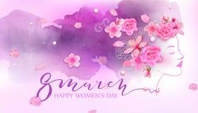 Mulher bonita Fundo cor-de-rosa da aquarela Imagem de Stock Royalty Free