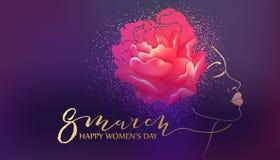 Mulher bonita Fundo da violeta da aquarela Imagens de Stock Royalty Free