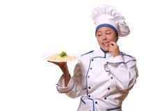 Mulher bonita na imagem do cozinheiro chefe Fotos de Stock Royalty Free