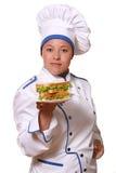 Mulher bonita na imagem do cozinheiro chefe foto de stock royalty free