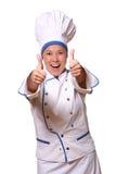 Mulher bonita na imagem do cozinheiro chefe Imagens de Stock