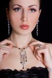 Mulher bonita na jóia Imagem de Stock Royalty Free