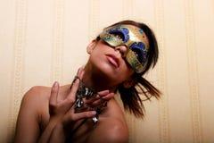 Mulher bonita na máscara imagens de stock royalty free