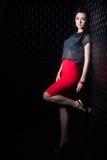 Mulher bonita na saia vermelha imagem de stock royalty free