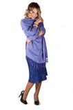 Mulher bonita no azul Fotos de Stock Royalty Free