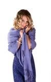 Mulher bonita no azul imagens de stock royalty free