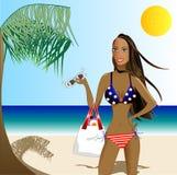 Mulher bonita no biquini patriótico Imagem de Stock