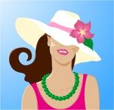 Mulher bonita no chapéu do verão da forma com flor ilustração stock
