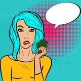 Mulher bonita no estilo do pop art com bolha e dinheiro do discurso ilustração do vetor