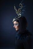Mulher bonita no estilo retro com os ornamento das penas Foto de Stock Royalty Free