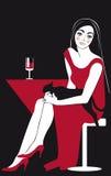 Mulher bonita no gato vermelho e preto Fotografia de Stock