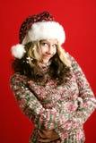 Mulher bonita no Natal Fotos de Stock