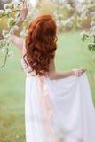 Mulher bonita no parque de florescência imagens de stock